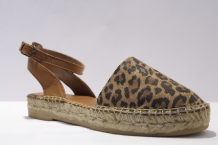 Leopard Leather Ballerina Espadrille