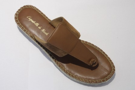 Flip-Flop espadrille in leather and nubuck