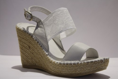 Lace and leather Wedge espadrille