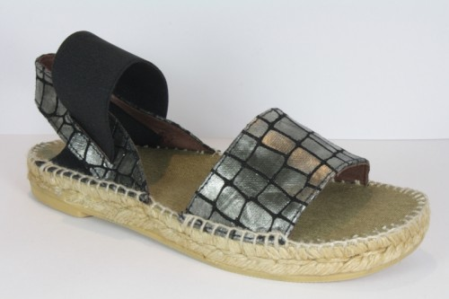 Strap leather espadrille