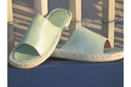 Leather blue sea mule