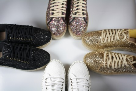 Platform trainers espadrille in glitter fabric