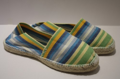 Espadrille traditionnelle cousue main bayadère jaune