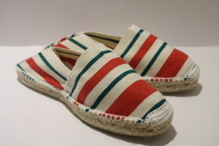 Espadrille traditionnelle cousue main rayure basque