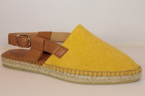 Pointy toe espadrille in stone washed and leather