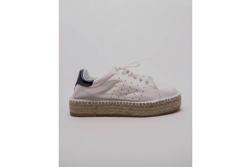 Platform espadrille sneakers in white leather