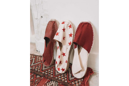 Espadrille bordeaux à Paillettes or