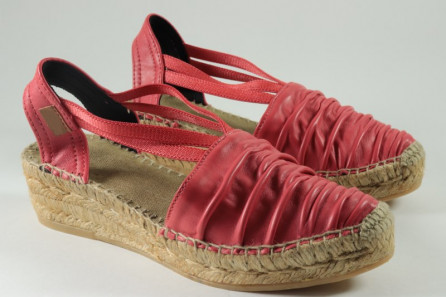 Leather espadrille with bands