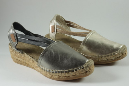 Metalic Leather espadrille with bands