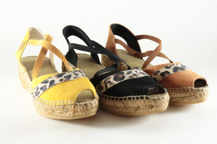 Open toe women espadrille leopard and bands